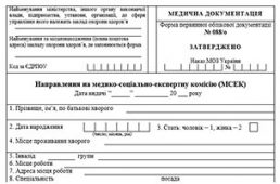 Направление (№088/о) на медико-социально-экспертную комиссию(МСЭК)